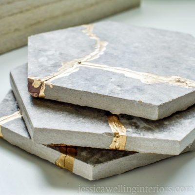 image of stack of three kintsugi tile coasters