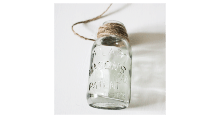 mason jar wrapped with twine