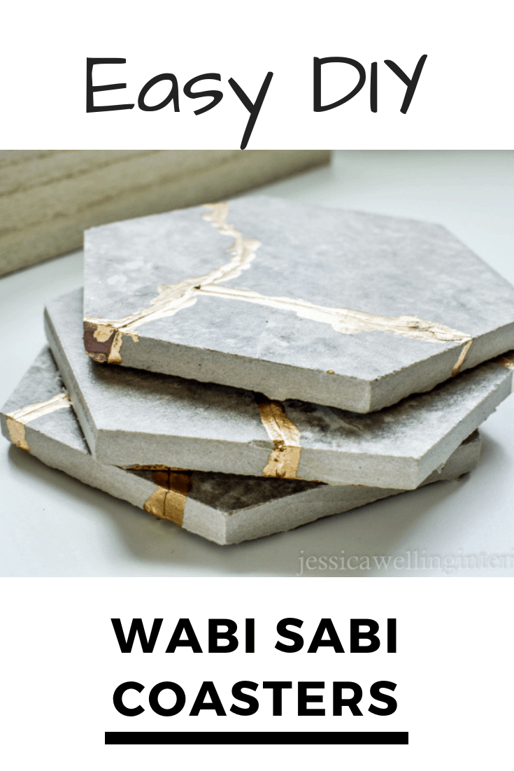 image of Easy DIY Wabi Sabi Coasters made from hexagon tiles and gold leaf paint