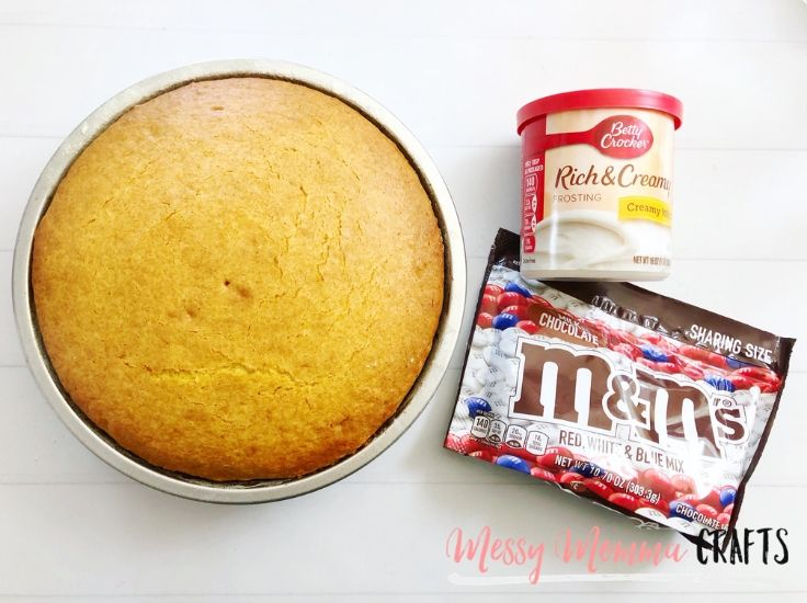 A round white cake, white frosting, and red white and blue M&Ms.