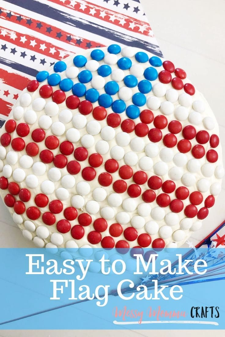 This American Flag Cake is perfect for a crowd on the 4th of July and you don't have to worry about hauling 24 cupcakes, one cake works.