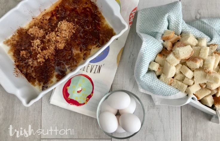 Brown sugar, bread and eggs for a french toast bake.