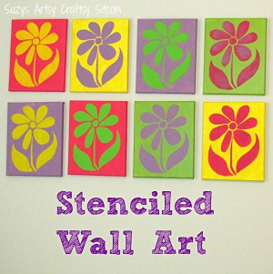 Stenciled wall art with free flower stencil pattern!