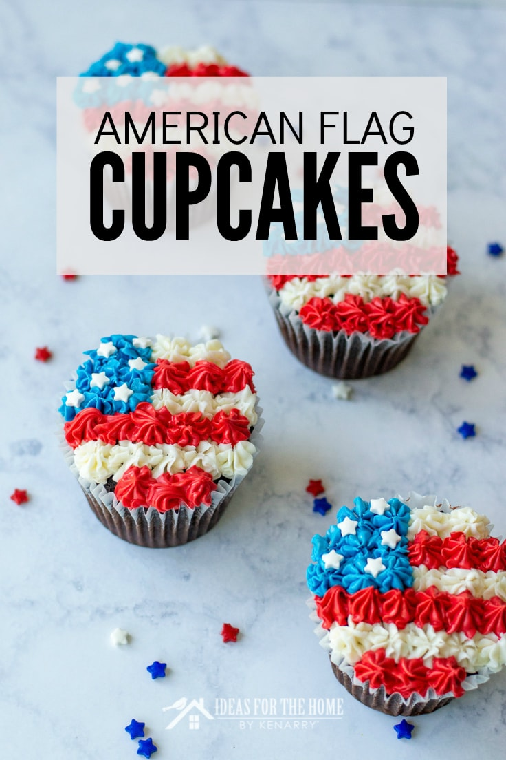 American Flag Cupcakes, chocolate cupcakes for the 4th of July decorated with red, white and blue frosting to look like an American flag