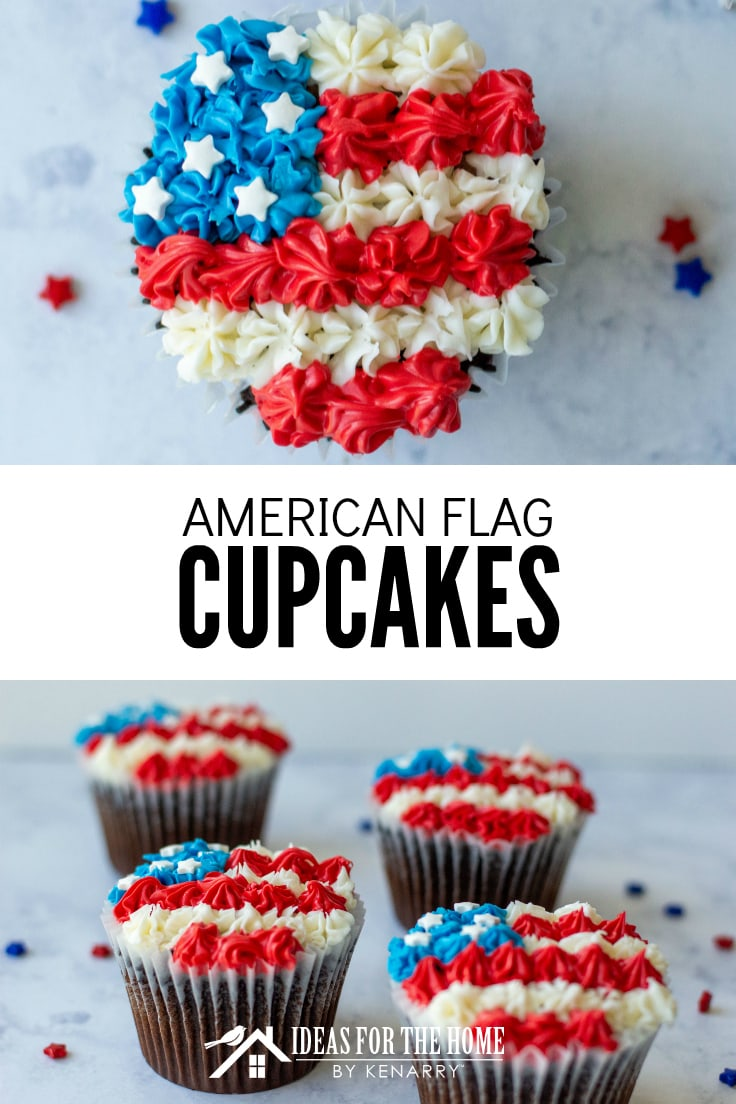 American Flag Cupcakes, chocolate cupcakes for the 4th of July decorated with red, white and blue frosting and white star sprinkles to look like an American flag