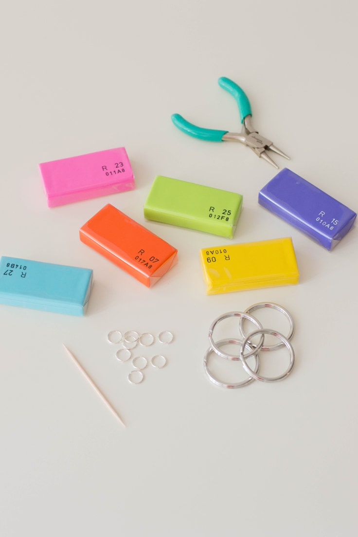 Tools needed to make personalized keychains - polymer clay and small craft pliers.