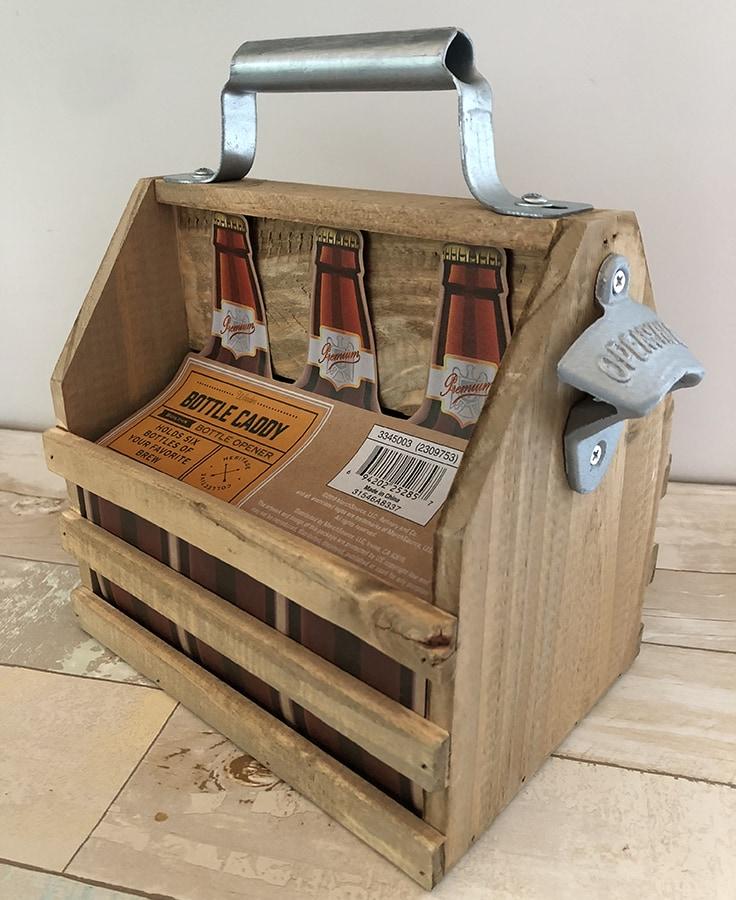A wood bottle caddy