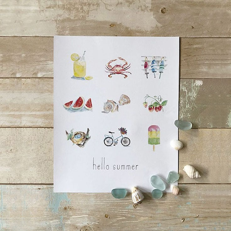 Hello Summer and a FREE art print