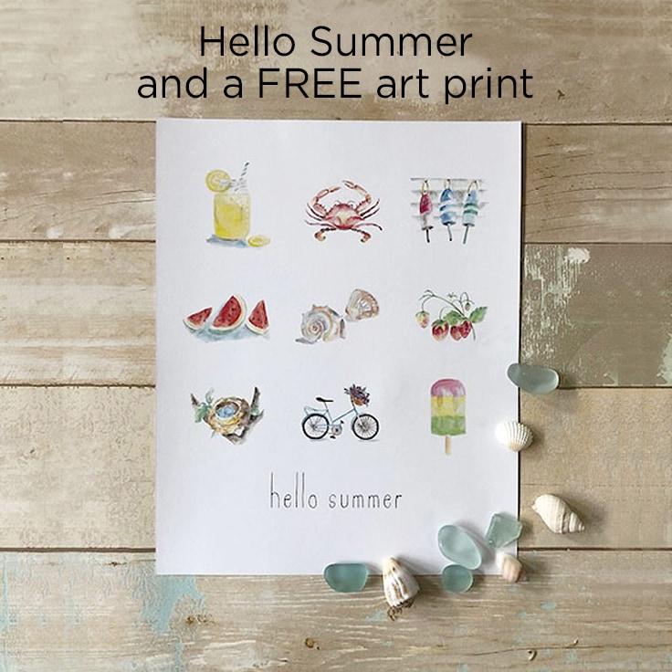 Hello Summer and a FREE summer art print