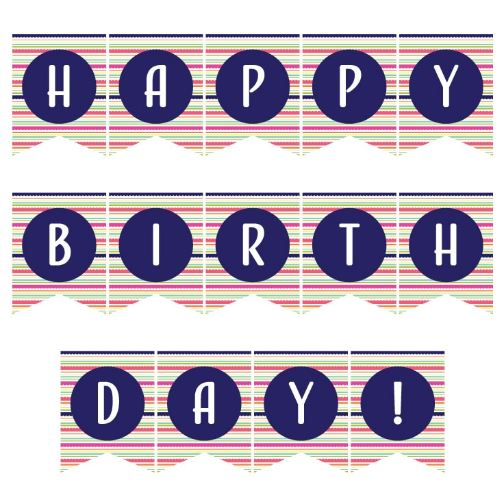 Navy colored Happy Birthday banner printables.
