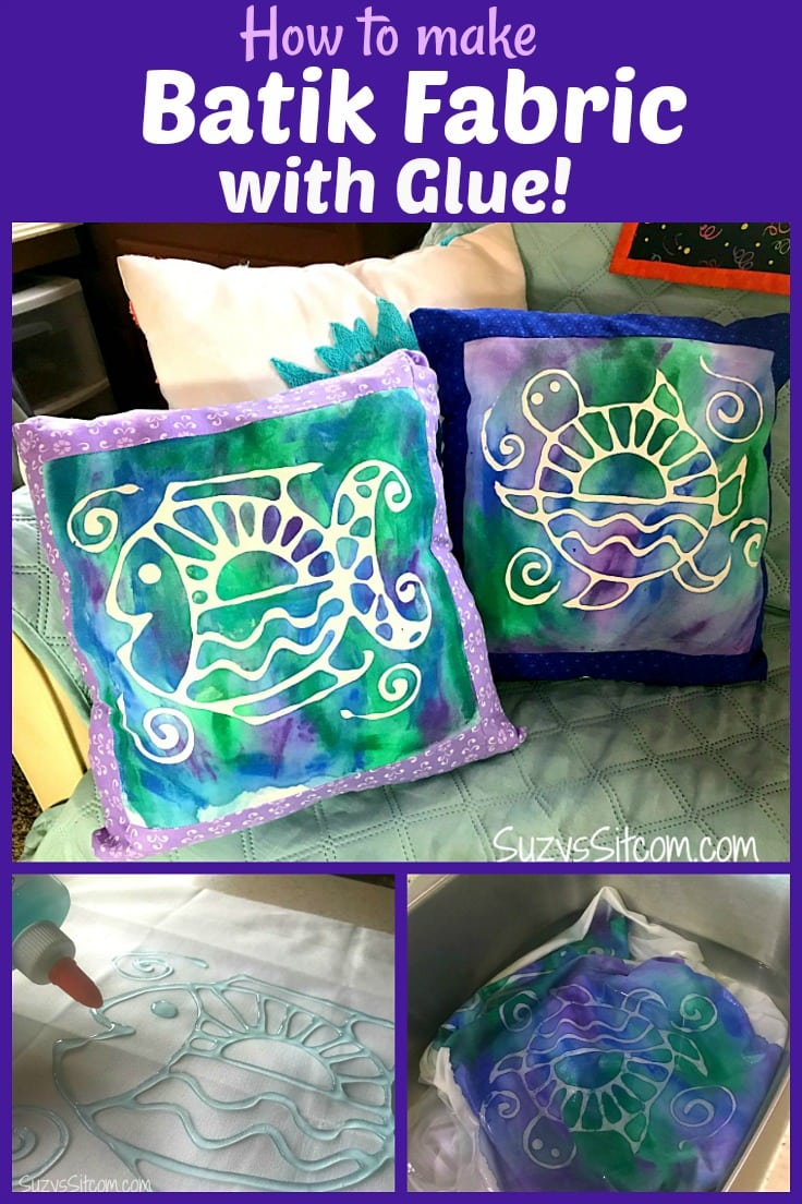 Making your own fabric designs is a lot of fun.  In this tutorial, I'll show you how to create your own batik fabric with washable glue!  This is a great project even for the kids.  Included are two free patterns to get you started!