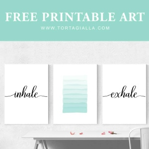 Free printable art preview of inhale, abstract lines and exhale lettering wall art.