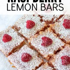 Raspberry Lemon Bars, overhead shot looking down at raspberry lemon bars topped with powdered sugar