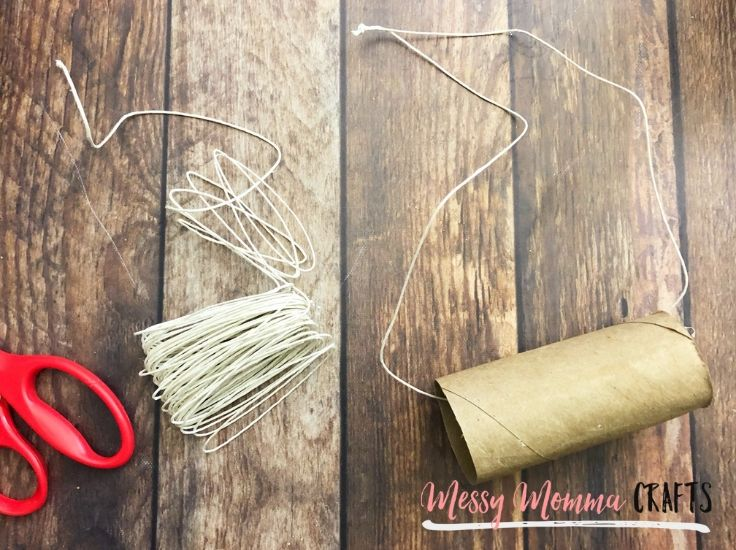 Supplies you need to make bird feeders - string, scissors and toilet paper roll.
