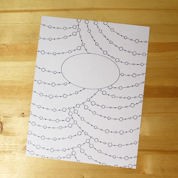 Uncolored binder cover page with lines and dots pattern