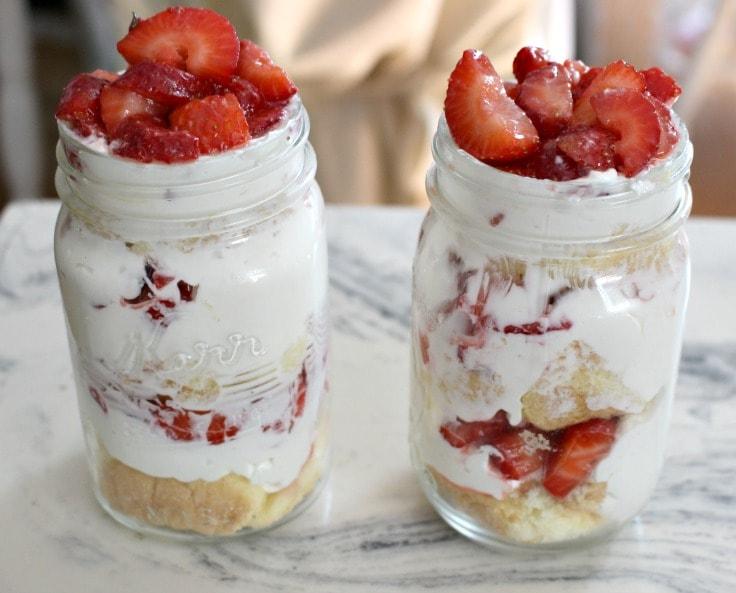 finished strawberry parfaits in mason jars