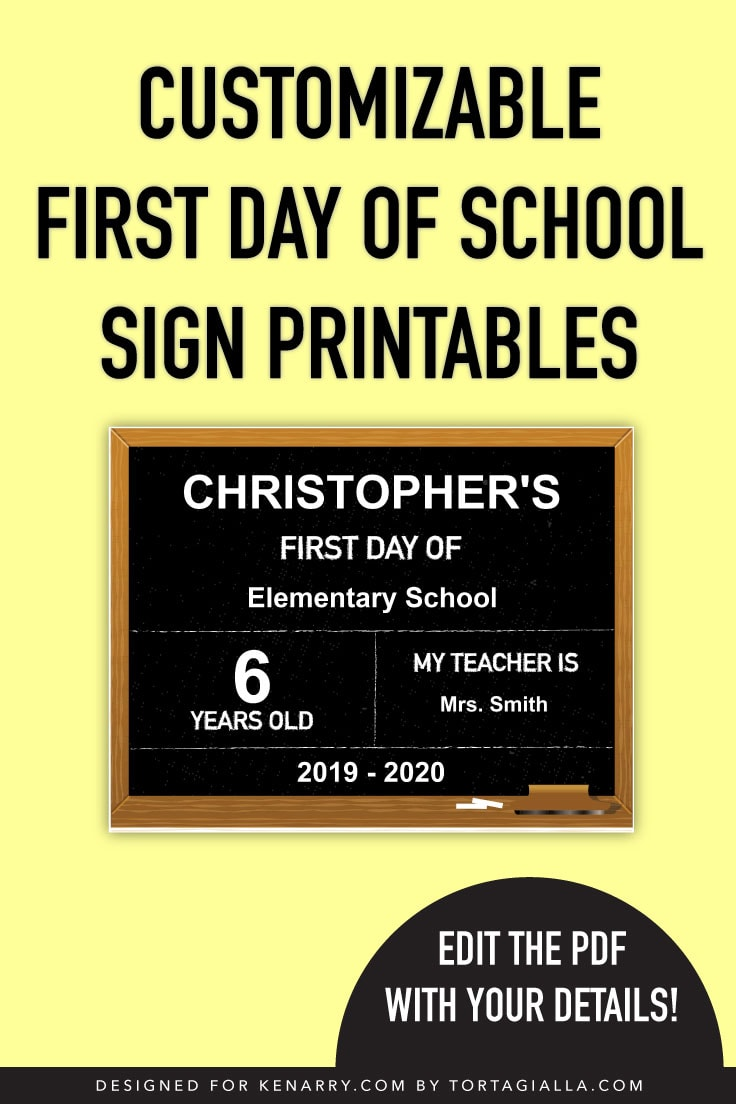 Preview of chalkboard design themed first day of school sign printable.