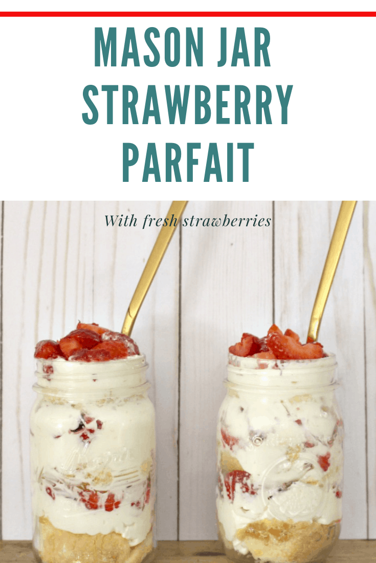 mason jars with strawberry parfaits with gold spoons