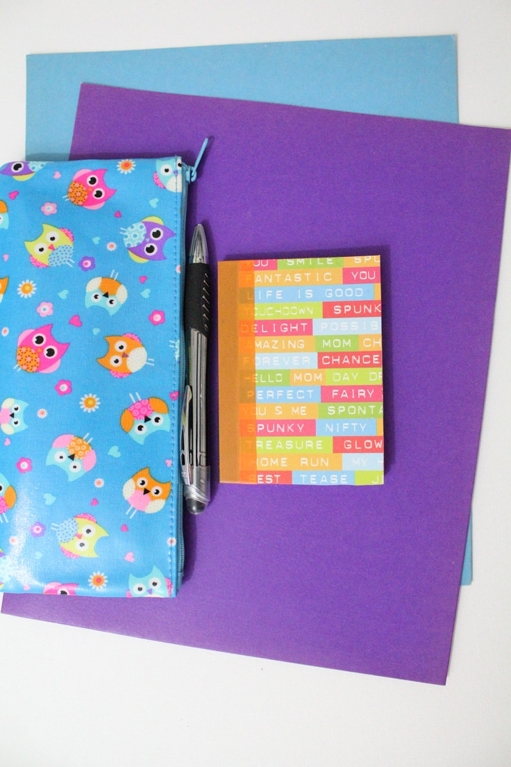 Colorful notebook beside a zip pouch and pen on top of purple and blue folders