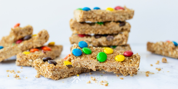 Granola bars stacked on top of one another in short piles. These no bake treats are an easy after school snack.