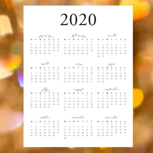 Preview of 2020 Year Calendar on paper