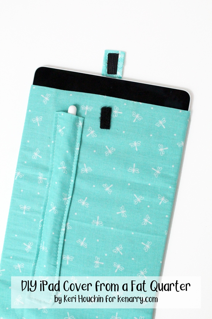blue fabric DIY iPad cover from a fat quarter with an Apple Pencil pocket and a velcro tab closure