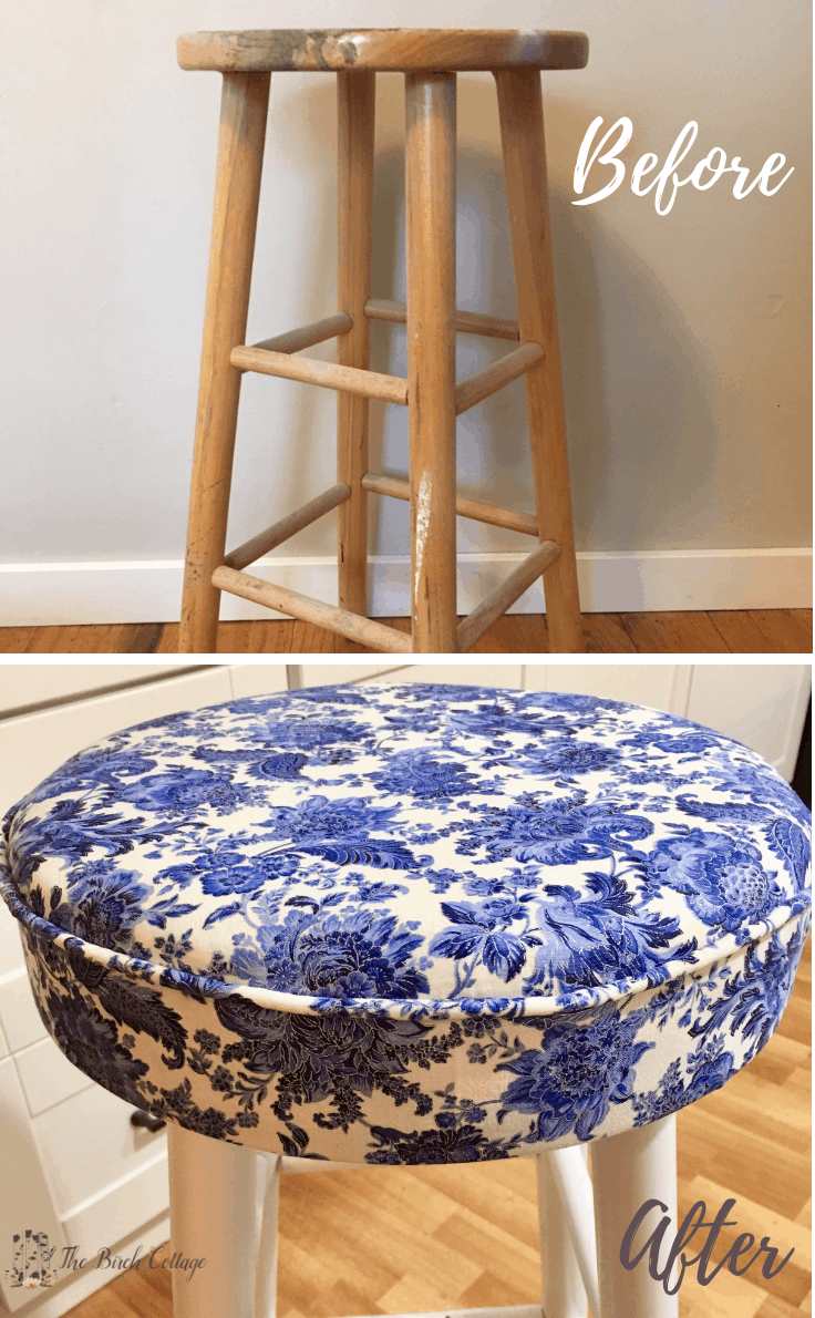 Before and After - what a bar stool looks like after you upholster it.
