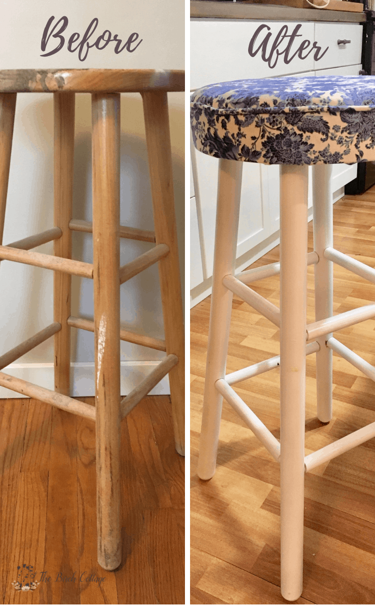 The Before and After of a bar stool after it is upholstered