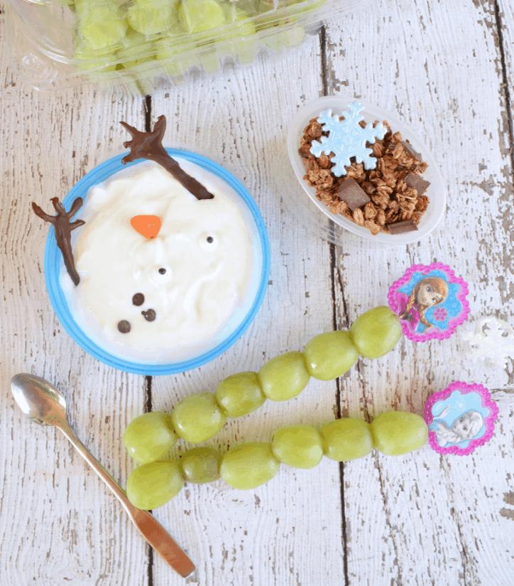 Disney's frozen school lunch - grapes, yogurt, granola.