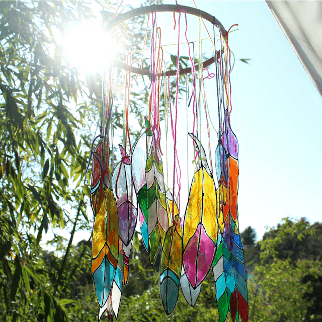 FAUX STAINED GLASS FEATHERS