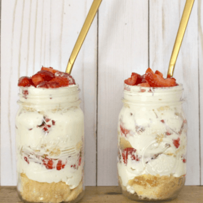strawberry parfait in a mason jar