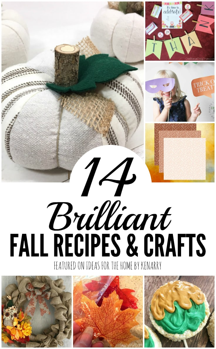 14 Brilliant Fall Recipes and Crafts featured on Ideas for the Home by Kenarry