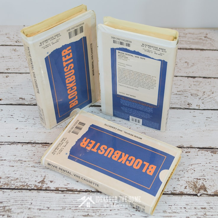 Blockbuster Video movie rental VHS cassettes mocked up as Halloween costume props