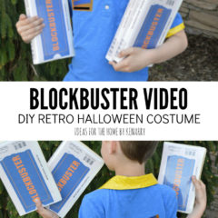 Blockbuster Video DIY Retro Halloween Costume: Ideas for the Home by Kenarry, shows the front and back of a blue polo style short-sleeved shirt trimmed with yellow color and cuffs, along with vintage VHS tapes emblazoned with the Blockbuster Video logo.