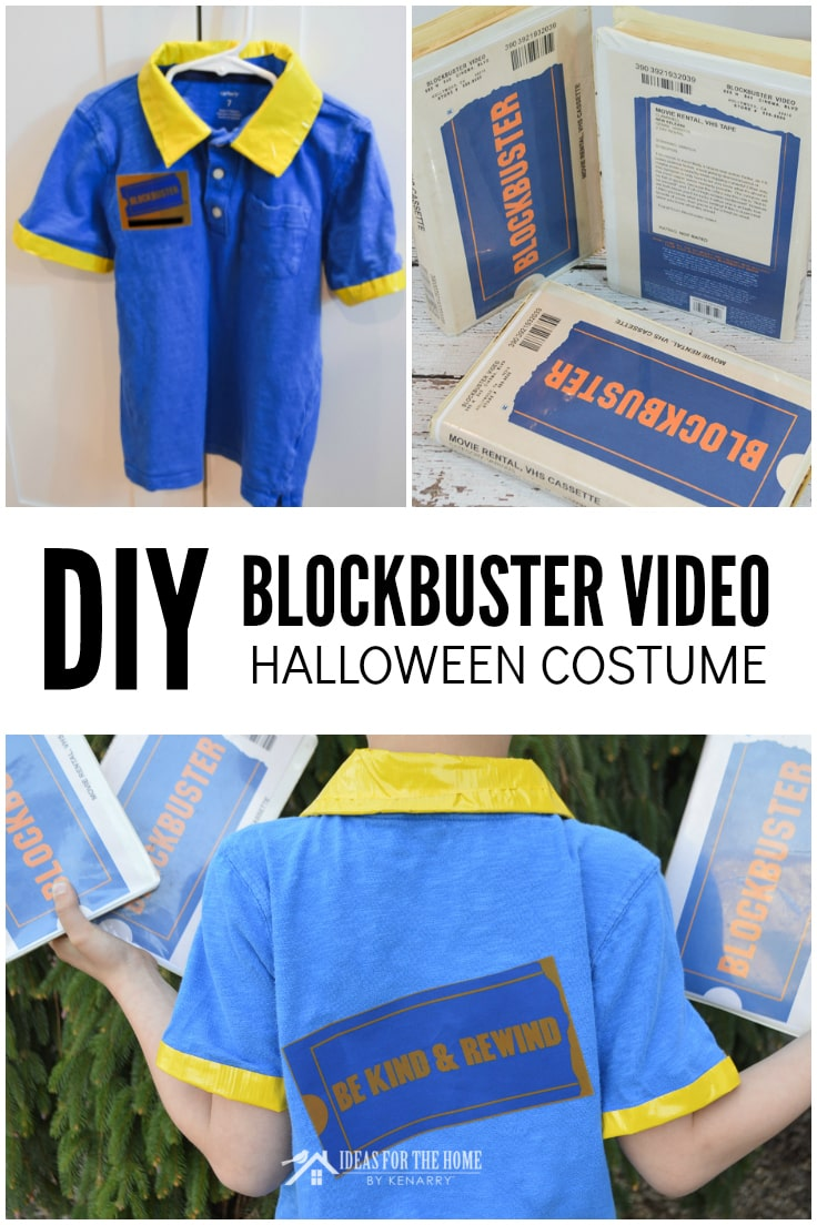DIY Blockbuster Video Halloween Costume, photo collage shows the front and back of a blue polo style short-sleeved shirt trimmed with yellow color and cuffs, along with vintage VHS tapes emblazoned with the Blockbuster Video logo.