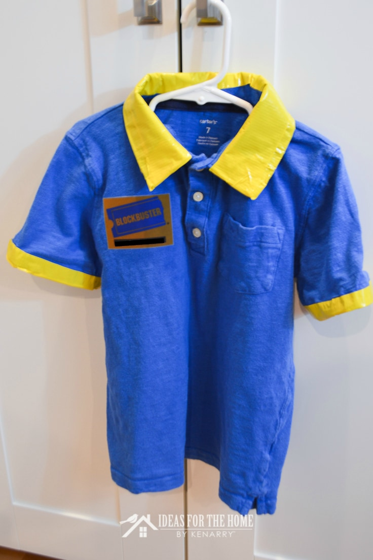 A blue Blockbuster video shirt on a hanger as a retro 90s costume