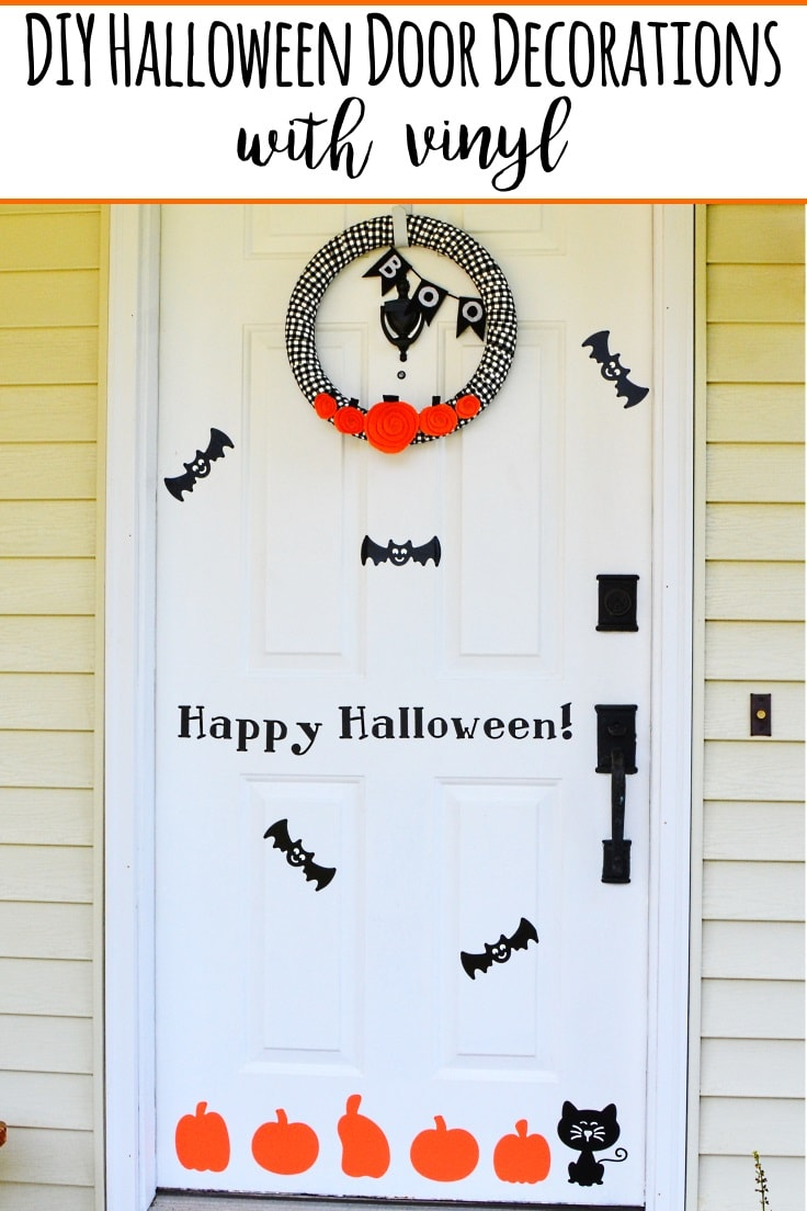 A front door of a house decorated with DIY Halloween door decorations