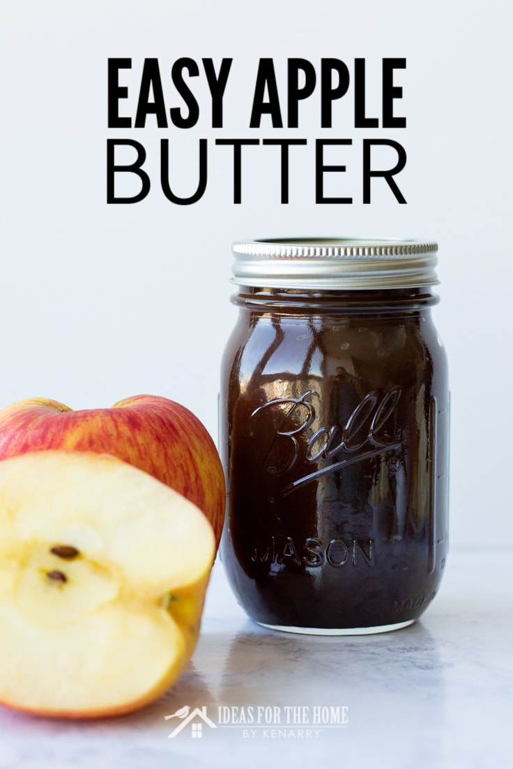 Easy Apple Butter, a partially cut apple next to a full jar of apple butter