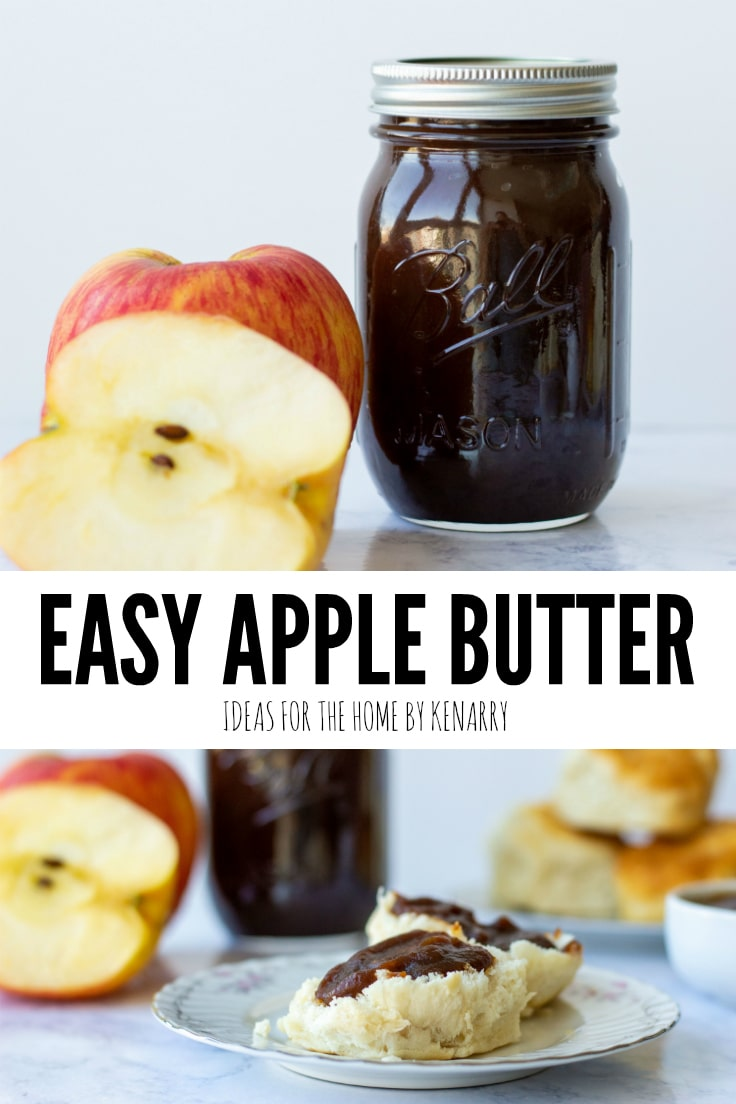 Easy Apple Butter from Ideas for the Home by Kenarry, photo collage shows a jar full of the apple butter and warm biscuits covered with apple butter