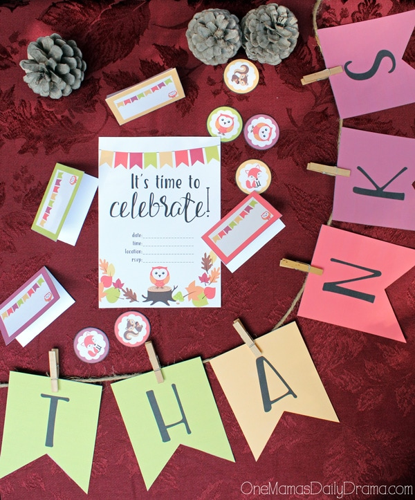Fall Party Printables with Woodland Creatures