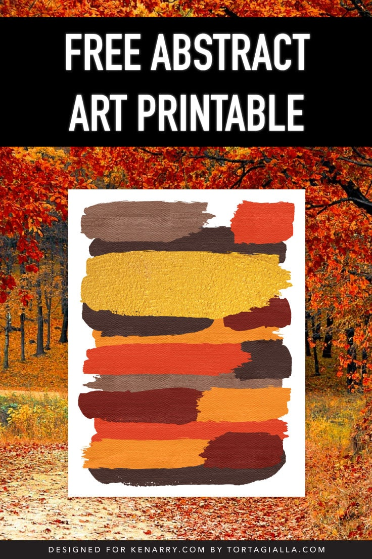 Abstract art print of earthy colored brushstrokes on a leafy autumn background scene.
