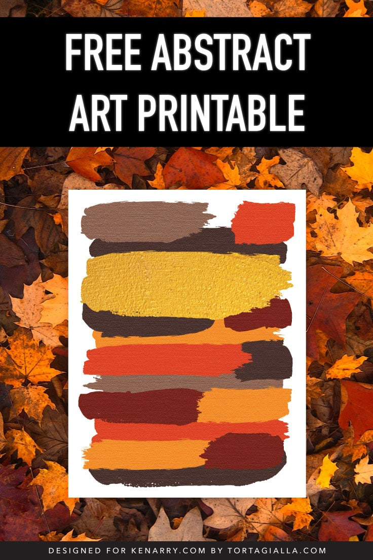 Earthy color brush strokes abstract art print on autumn leaves background.
