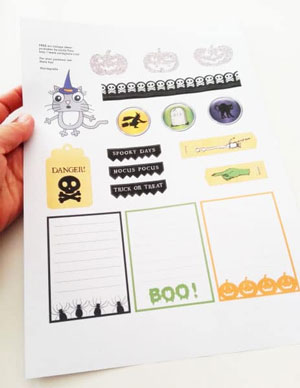 free halloween art collage page printable