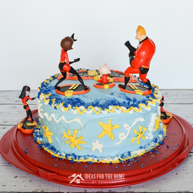 The back side of an Incredibles birthday cake