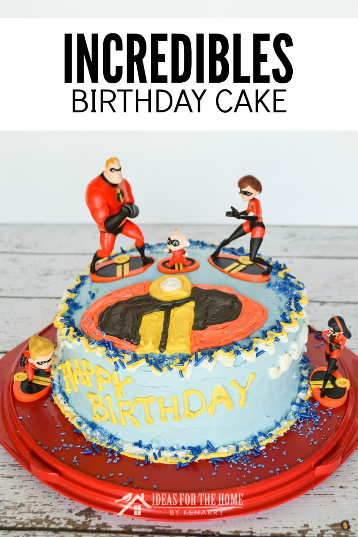 Incredibles birthday cake - Front view of a round cake with figurines of Dash, Violet, Jack Jack, Elastigirl and Mr. Incredible