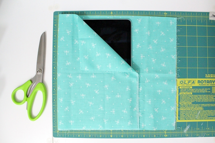 fabric folded over an iPad