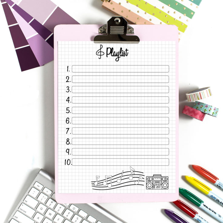 Printable Playlist for Bullet Journal and iPad