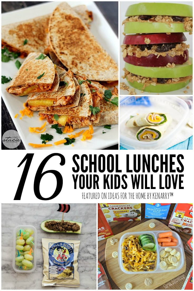 16 School Lunches Your Kids Will Love featured on Ideas for the Home by Kenarry