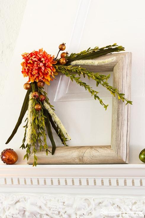 Square Faux Wood Fall Wreath