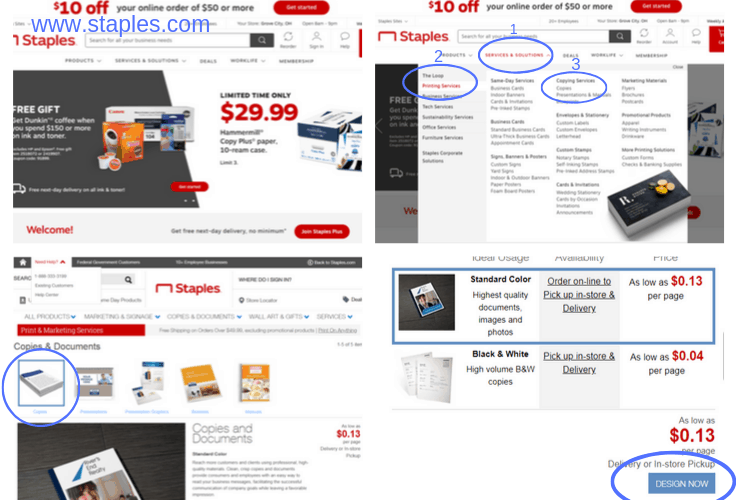 How to use the Staples.com website to print a calendar from home.